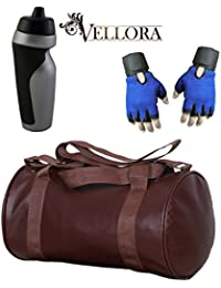 VELLORA Soft Leather Duffel Gym Bag (Brown) With Penguin Sport Sipper, Gym Sipper Water Bottle Color Black Grey...