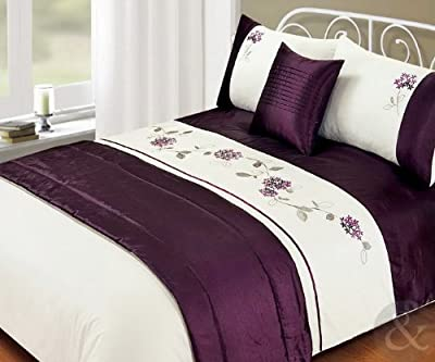 5Pc Bed In A Bag - Embroidered Duvet Cover Faux Satin Silk Complete Bedding Sets produced by Just Contempo - quick delivery from UK.