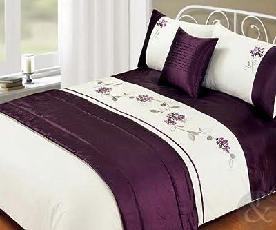 Just Contempo - Juego de funda nórdica (incluye fundas para almohadas pie de cama y funda para cojín) diseño de flores bordadas color blanco y azul