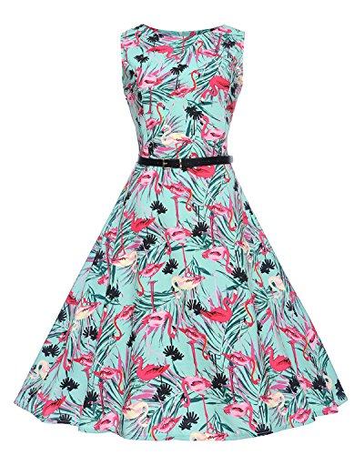 Caissen Damen 1950er Vintage Retro Rockabilly Audrey Kleid Rundhals Geblümt Cocktail Swing Partykleid mit Gürtel Flamingo Größe M (Iconic Damen Kostüm)