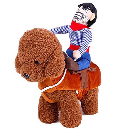 SIBOSUN Cowboy Rider Hund Kostüm Outfit Anzug Ritter mit Puppe und Hut Halloween Pet Kostüm - Größe XL