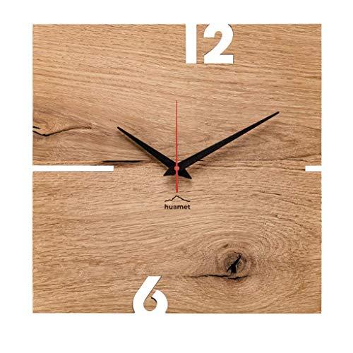 huamet. Wanduhr PUHR aus Eiche, eckig - echtes Holz, einzigartiges Design, geräuschlos ohne Ticken - Echtes Qualitätprodukt Made in Südtirol - CH51-A-00