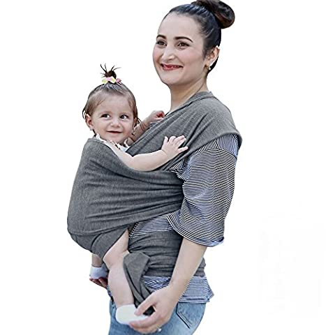 • BABY CARRIER MOTHERS DAY SPECIAL OFFER! • Baby Wrap Carrier with Natural Cotton • GREAT FOR PLUS SIZE PARENTS • Comfortable Baby Sling For Newborns, Infants, Toddlers Best Breastfeeding Cover Baby Carrier with Breathable Soft Cotton in STYLISH GREY Color Ideal for Baby Shower Gift
