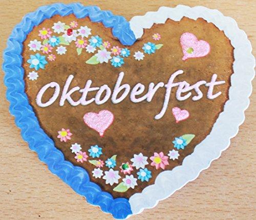 Feste Feiern Zum Oktoberfest I Accessoires Hut Brille Hosenträger Tasche Bayrisch Blau Raute zur Wiesn Dirndl Party (LED Lebkuchen)