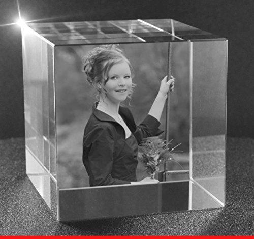 VIP-LASER 2D GRAVUR Glas Kristall Würfel mit dem Foto Deiner Freundin. Dein Wunschfoto für die Ewigkeit mitten in Glas! Groesse XL = - Glas-cube-bild