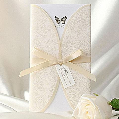 20 X Elegant Ivory Lace Vintage Butterfly Print Tri-fold Wedding Invitation cards, FREE matching envelop, FREE matching blank insert card and FREE