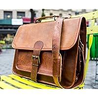 Shakun Leather bolsa de mensajero Piel, maletín hecho a mano, correa única en frente y bolsillos laterales, 15 Pulgadas