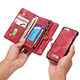 INFLATION iPhone/Samsung Leder Handytasche Case Hülle Geldbörse mit Kartenfach abnehmbar Magnet Handy Schutzhülle für iPhone 6 /iPhone 6S in Rot