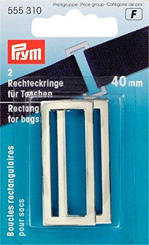 Prym Rechteck Schlaufen für Taschen und Träger, Metall, Silber, 40mm, 2-teilig