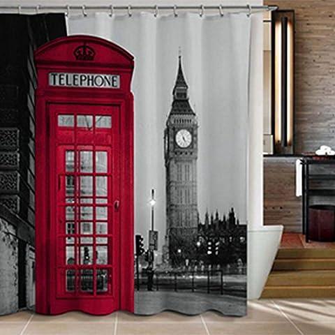 Sannix célèbre Ville Landmark Motif rideau de douche en tissu, 182,9cm par 182,9cm (Londres)