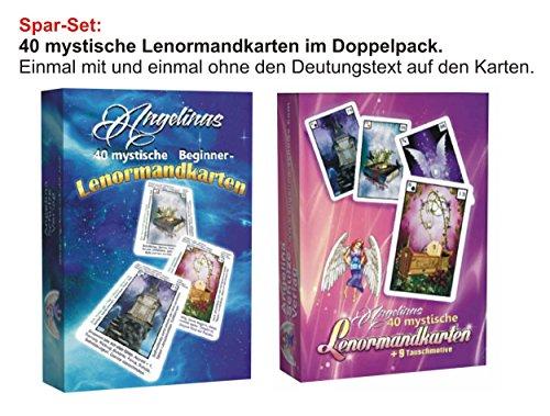 Preisvergleich Produktbild Lenormandkarten im Doppelpack: Angelinas 40 mystische Lenormandkarten & Angelinas 40 mystische Beginner-Lenormandkarten jeweils mit zusätzlichen 9 Karten zum Tauschen (2 Neuauflage)
