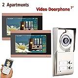 HUALI 7inch Record WiFi sans Fil 2 Appartements vidéo Porte téléphone interphone système IR-Cut HD 1000TVL caméra Sonnette avec 2 Bouton 2 Moniteur étanche