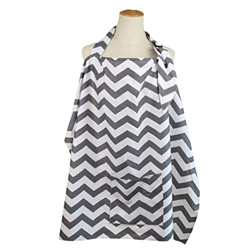 WYXlinkNursing Cover+Storage Bag - Breathable Cotton Breastfeeding Apron –Baby Feeding (Gray, free...