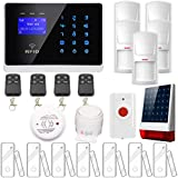 ERAY Wireless Alarm Systems Support IOS / Android APP with 1pc Solar Powered Siren, 1pc Smoke Detector, 5pcs PIR Motion Detectors, 7pcs Door/Window