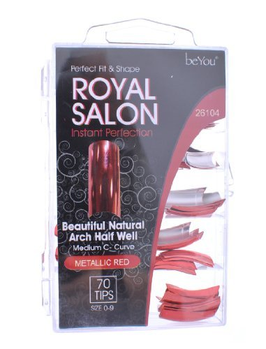 BeYou Royal Salon Instant Natural Arch Half Well Medium C Curve 70 Tips Metallic Red 26104 by Be You (Natural Arch)