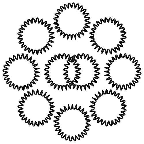 Spiralhaarbänder, 10 Stück, schwarze Spiralbindung, Kunststoff, Telefonkordel Haargummis für Mädchen, Pferdeschwanz, dehnbar, keine Falten, unsichtbare Haargummis für Frauen und Mädchen