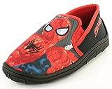 Neu Jungen Spiderman Character Schwarz Pantoffeln Weihnachtsgeschenk Oder Geschenk - Schwarz - UK GRÖßEN 7-1 - Schwarz, 25