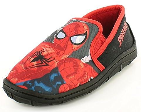 Neu Jungen Spiderman Character Schwarz Pantoffeln Weihnachtsgeschenk Oder Geschenk - Schwarz - UK GRÖßEN 7-1 - Schwarz, 26