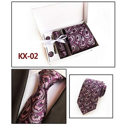 NINGYE 6 Stücke Männer Paisley Floral Woven Krawatte Manschettenknopf Taschentuch Krawattenklammer Set Business Hochzeit Kostüm 20 Farbe -
