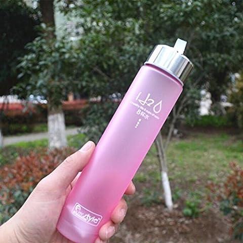 Kingko 2017 New Fashion Portable Bike Sports Unbreakable 280ml Plastic Water Bottle Matte Finishes Bottles Drinking Plastic BPA free Bottle (Pink)