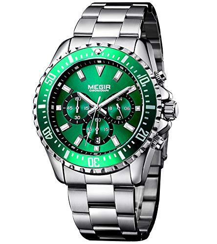 Megir orologio uomo elegante orologio uomo acciaio orologio uomo verde