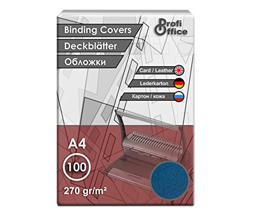 ProfiOffice Deckblätter, DIN A4, Lederoptik, blau, A4 270g/m², 100 Stück (29005)