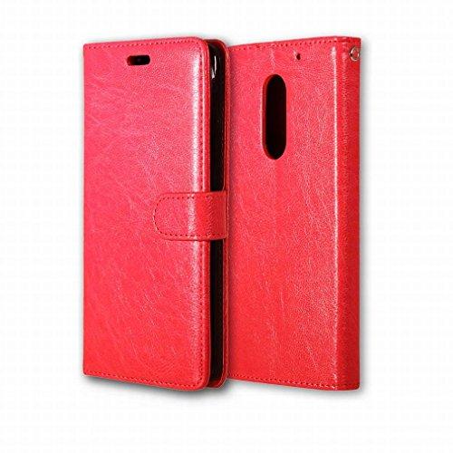 Custodia Lenovo Vibe X3 Cover Case, Ougger Portafoglio PU Pelle Magnetico Stand Morbido Silicone Flip Bumper Protettivo Gomma Shell Borsa Custodie con Slot per Schede Colore Marrone Rosso