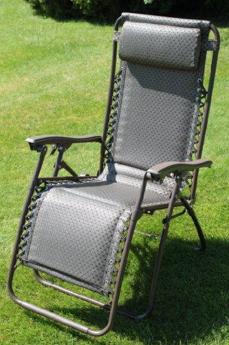 Chaise longue de jardin rembourrée, revêtement en textoline imperméable coloris tweed