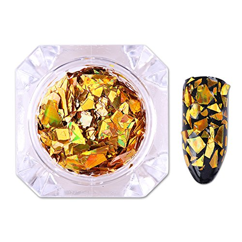 Born Pretty Laser Nail Pailletten Holographic Gold Silber Funkeln Paillette Nail Art Flakes (Special Kits Make Up Effects)