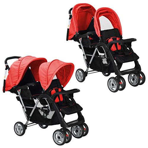 vidaXL Geschwisterwagen Rot Babywagen Kinderwagen Baby Buggy Zwillingsbuggy