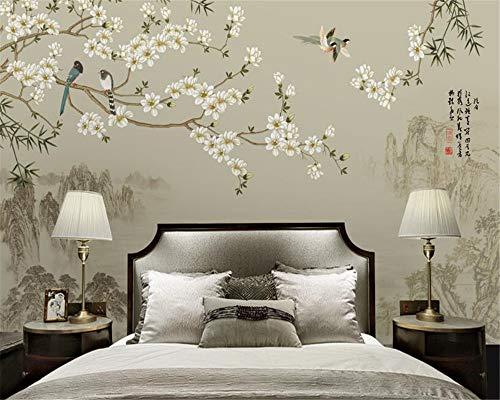Neue chinesische einfache Magnolia Vogel Bambus TV Hintergrund Wand Mode Persönlichkeit Tapete Wallpaper Mural 3D Wallpaper-450x300cm