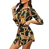 SANNYSIS Damen Langarm Hemdkleid V-Ausschnitt Elegant Kurz Blusenkleid Sexy Shirt Kleid Oberteil Kleid Bodycon Minikleid mit Gürtel Boho Drucken Sommerkleid Kleider (S, Grün)