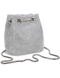 Bolso de Noche Fiesta con Cristales de Diamante Cadena de Encogimiento para Boda Elegante Embrague