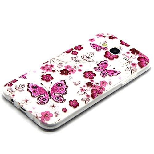 Voguecase® für Apple iPhone 5C, Schutzhülle / Case / Cover / Hülle / TPU Gel Skin (NEW YORK) + Gratis Universal Eingabestift Rosa Schmetterling Blumen