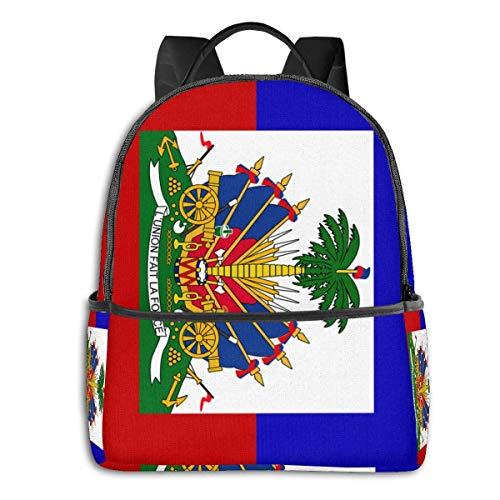 Lässiger Rucksack, für Hochschule, Studenten, Bücher, wasserabweisend, Laptop-Tasche, Reisetasche für Damen, Herren, Jungen, Mädchen - Haiti Flagge Haiti Flag Einheitsgröße