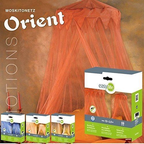 Preisvergleich Produktbild Moskitonetz: Fliegennetz Orient mit Baldachin, Fliegengitter in Orange, 2,5 x 12m, dekorativer Betthimmel