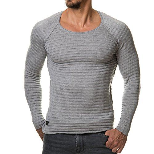 EightyFive Herren Pullover Feinstrick Streifen Weiß Grau Schwarz EF1699 Grau