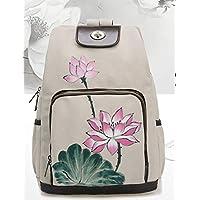 Originale vento nazionale borsa zaino donna semplice dipinte a mano e borsa di tela retrò selvatici stile cinese zaino borsa,m bianco