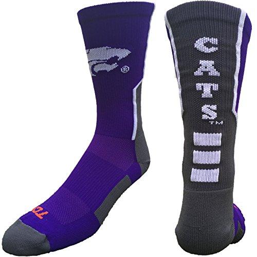 Kansas State Wildcats Perimeter Crew Socken, Jungen damen Mädchen Herren, Purple/Graphite/White -