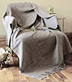 RAJRANG Funda de algodón reversible Manta de borla tejida gris carbón Mantas de camping de picnic suave y cálido 127 x 152 cms