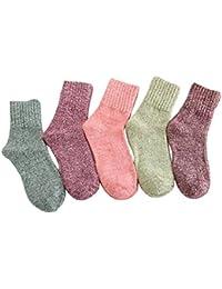 sweetauk grueso cálido invierno Calcetines en varios colores 5 pares para ...