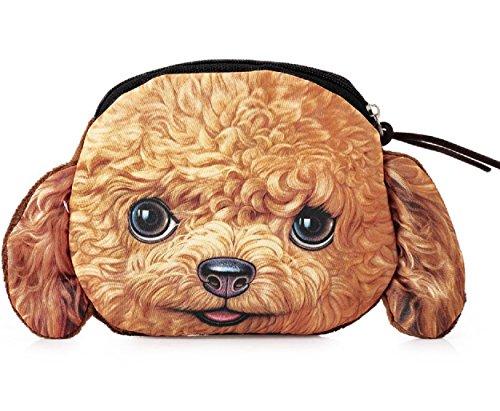 Flauschiger Kindergeldbeutel / Portemonnaie (Münzbörse) mit knuffigem Hundemotiv (Hündchen/Welpen als Animal Print) für Jungen und Mädchen - inkl. Plüsch-Ohren (Rotbraun (Mädchen Pudel)