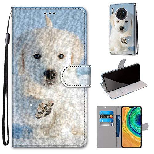 Miagon Flip PU Leder Schutzhülle für Huawei Mate 30,Bunt Muster Hülle Brieftasche Case Cover Ständer mit Kartenfächer Trageschlaufe,Schnee Hund