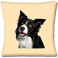 Border Collie, colore: nero/bianco, motivo: primo piano di testa (16 in 40,64 cm, crema, 40 cm, federa per cuscino