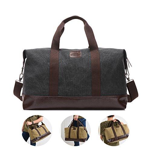 Overmont 36I Vintage Canvas Unisex Reisetasche Gym Tasche Weekender Tasche Handgepäck Sporttasche für Reise am Wochenend Urlaub Khaki/Schwarz / Grau/Militärgrün/ Braun