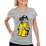 style3 Brick Bad T-Shirt Damen white meth walter crystal breaking tv serie, Farbe:Grau meliert, Größe:2XL