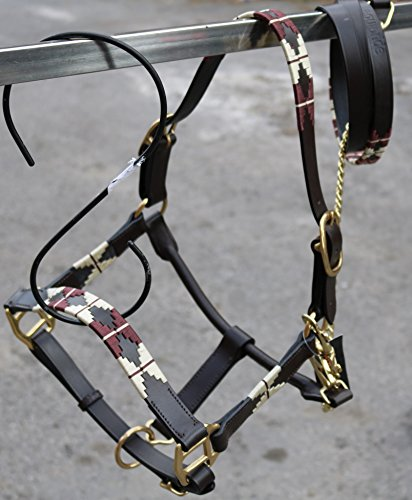 equipride Leder Polo Halfter mit Leder Leine braun
