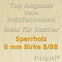 76 x 50cm GP 19,95 /€ pro m/² PiHaMi/® 10 Platten 8 mm Birke Sperrholz Qualit/ät B//BB