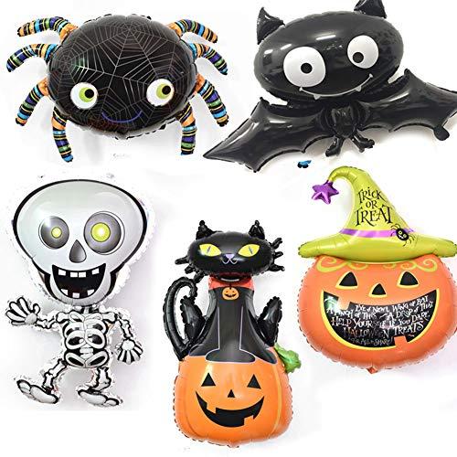 omufipw Aufblasbare Folienballons Kürbisschläger Spinnen Geister Katze Set Grusel Spaß Halloween Party Dekoration, Plastik, Mixture, 5 Stück