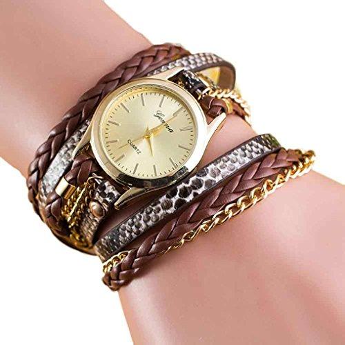 mingfa. Y Leder Charm Armband Armbanduhr synthetischer Uhren MULTILAYER Wrap Kette Armreif für Frauen band length :55CM coffee (Leder-wrap-armband Mit Charme)